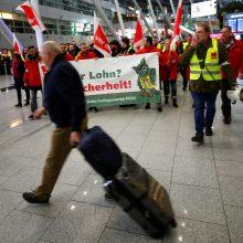 Vokietijoje antradienį streikuos šešių oro uostų apsaugos darbuotojai