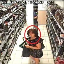 Parduotuvėje pasiėmė viskio butelį ir pasišalino <span style=color:red;>(ši moteris gali padėti tyrimui)</span>