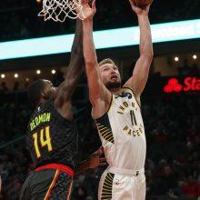 """NBA: rezultatyviai žaidęs D. Sabonis prisidėjo prie """"Pacers"""" pergalės"""