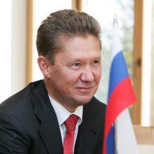 """""""Gazprom"""" vadovas: daugiau nei 20 proc. dujotiekio """"Nord Stream 2"""" jau nutiesta"""