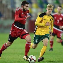 Lietuvos jaunimo futbolo rinktinė: raudona kortelė ir įvartis į savus vartus