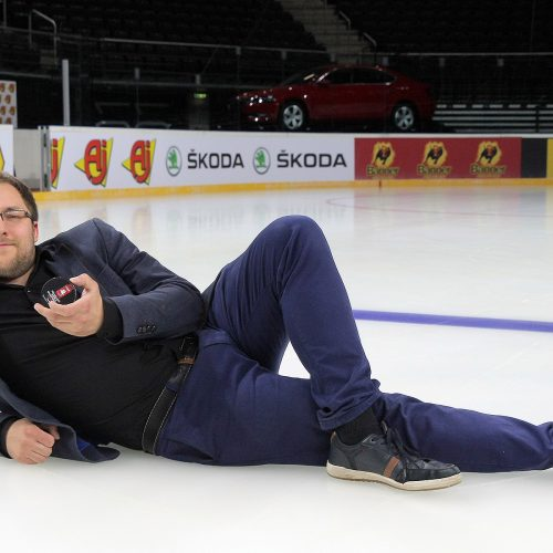 """Spaudos konferencija ant """"Žalgirio"""" arenos ledo  © Evaldo Šemioto nuotr."""