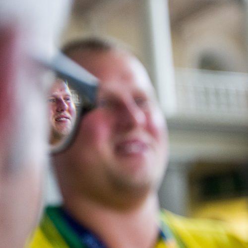 Į Lietuvą grįžo Europos čempionas A. Gudžius  © P. Peleckio / BFL nuotr.