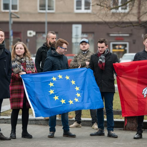 Protestas dėl M. Basčio mandato išsaugojimo  © V.Skaraičio/BFL nuotr.