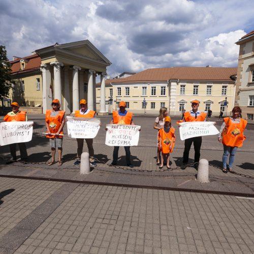 """""""Solidarumo"""" protestas prie Prezidentūros  © G. Bartuškos / ELTOS nuotr."""