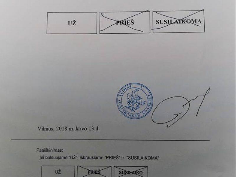 Seimo narys paviešino, kaip balsavo dėl M. Basčio