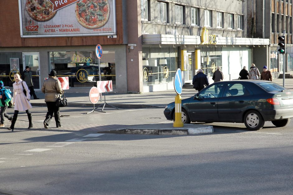 Miesto centre uždaryta gatvė kėlė sumaištį