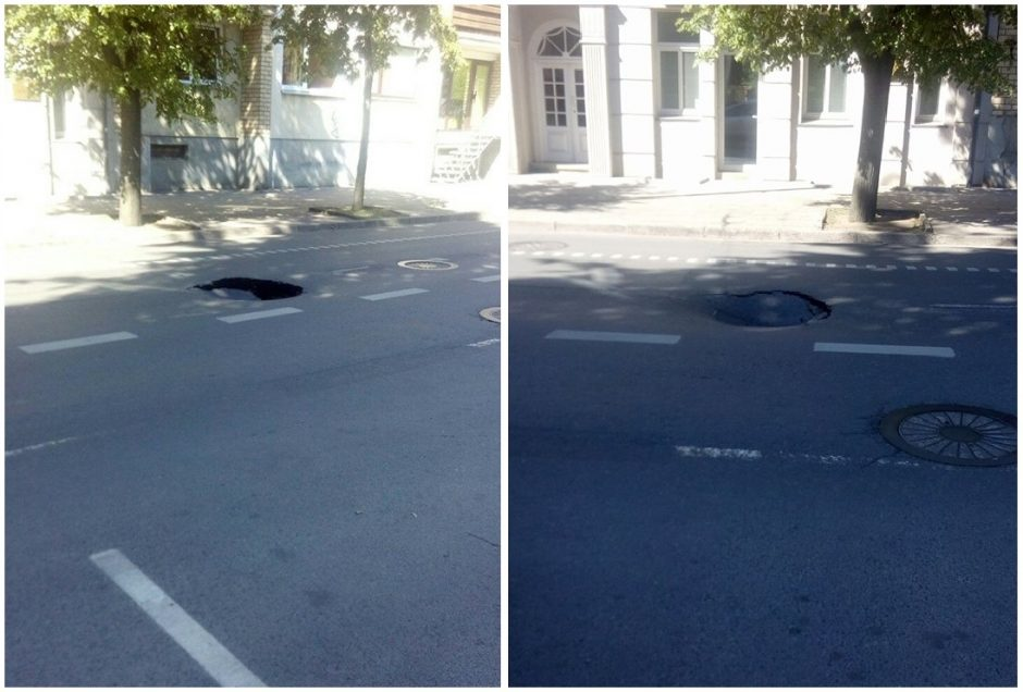 Praneša kauniečiai: judrioje centro gatvėje atsivėrė didžiulė duobė