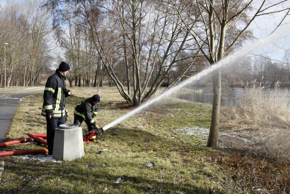 Uostamiesčio ugniagesiai išbandė techniką