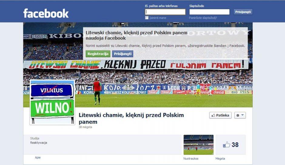 Lenkų fanai nerimsta: feisbuke pasirodė dar viena nesantaiką kurstanti paskyra