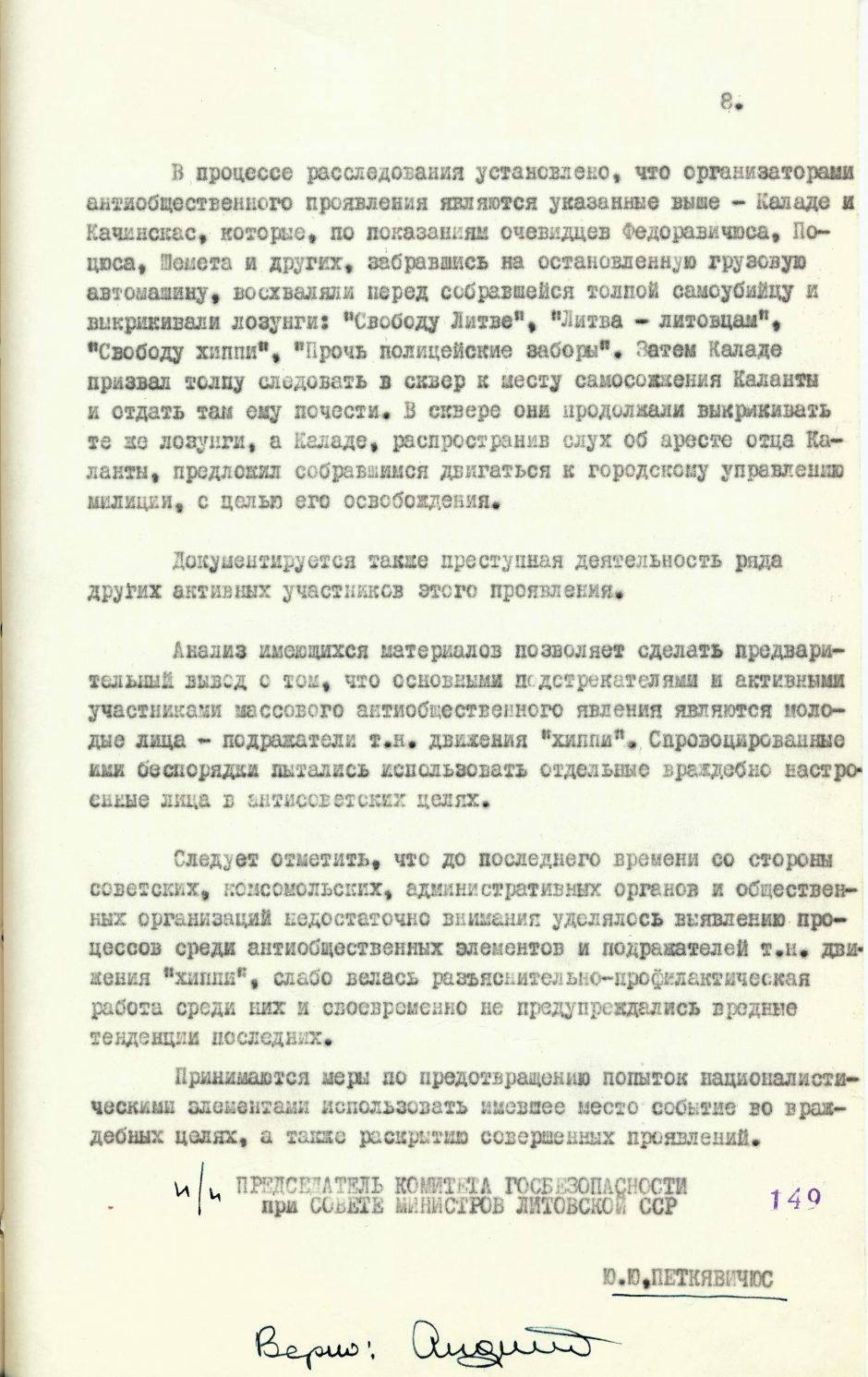 R. Kalantos aukos už laisvę nesutrypė net KGB