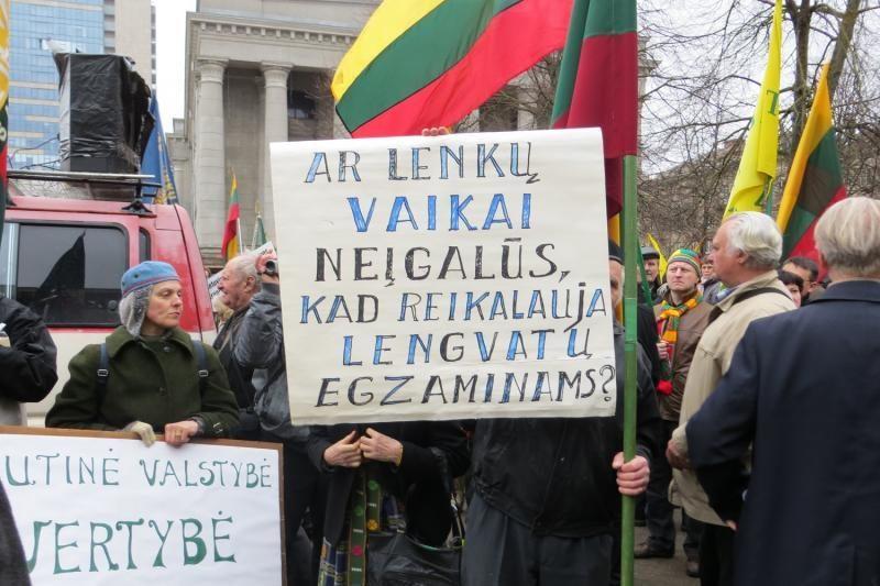 Vilniuje surengtas mitingas prieš reikalavimus dėl pavardžių rašymo