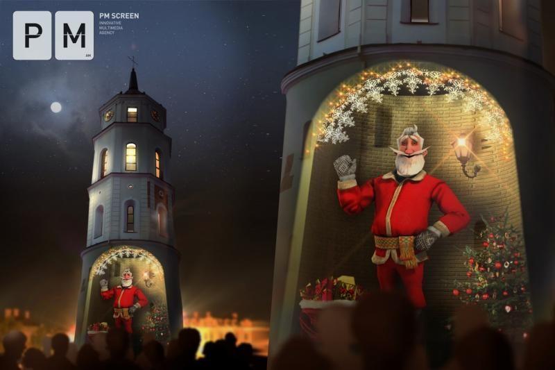 Vilniečius džiugins 3D interaktyvus Kalėdų senelis (sveikinimas)