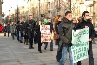 Studentai organizavo eitynes nuo Seimo iki Vyriausybės