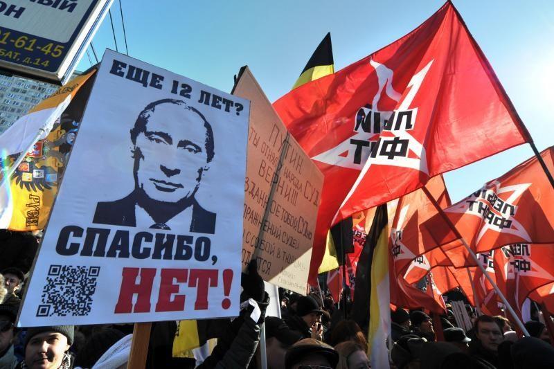 Mitinge prieš V.Putino valdymą dalyvauja tūkstančiai žmonių