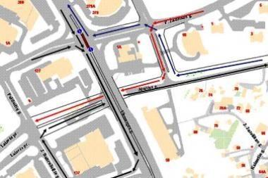 Keičiasi eismas Ukmergės ir P. Žadeikos gatvių sankryžoje