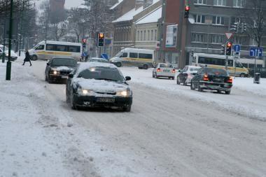 Klaipėdoje eismo sąlygos sudėtingos