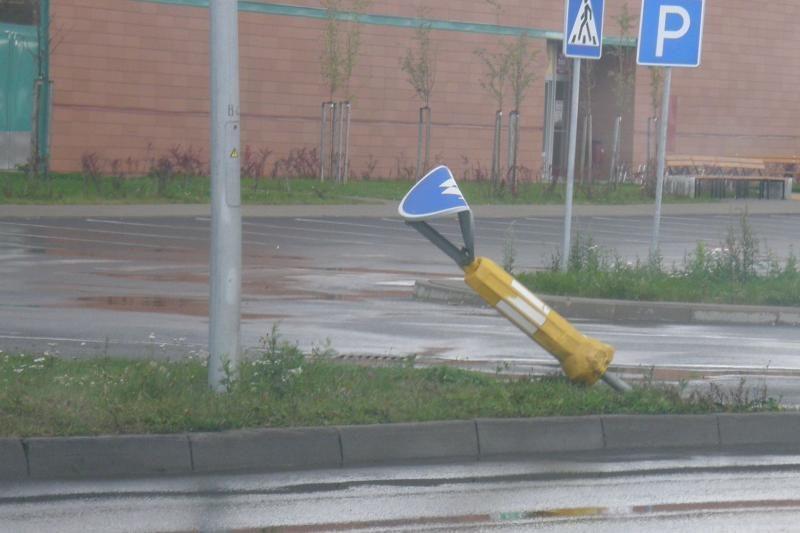 Stiprus vėjas Klaipėdoje laužė ne tik medžius, bet ir kelio ženklus