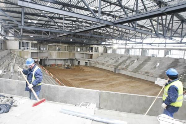 Klaipėdos arena: pūga statybos darbų nesustabdė