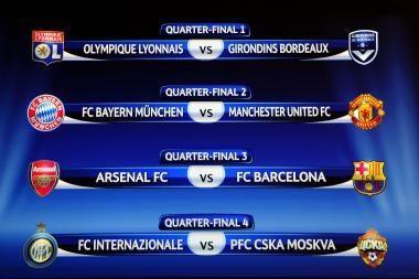 Ištraukti UEFA Čempionų lygos ketvirtfinalio bei pusfinalio burtai