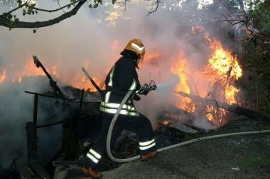 Kretingoje gaisro metu nukentėjo žmogus