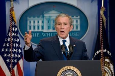 Paskutinėje spaudos konferencijoje G.W.Bushas neatgailavo
