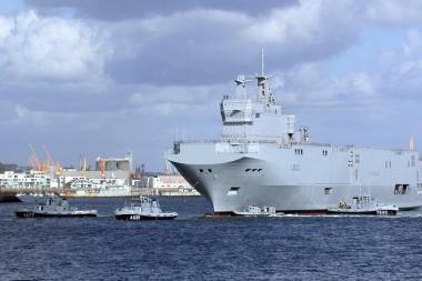Prancūzija karo laivą Rusijai gali parduoti tik be ginkluotės