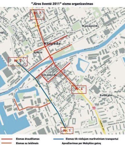 Uostamiesčio gatvėse – transporto spūstys (eismo schemos)