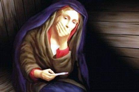 Bažnyčia šokiravo plakatu, kuriame mergelė Marija su nėštumo testu