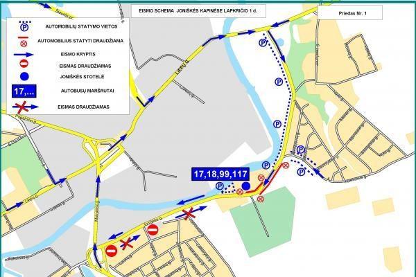 Lapkričio 1-ąją – eismo apribojimai (schemos)