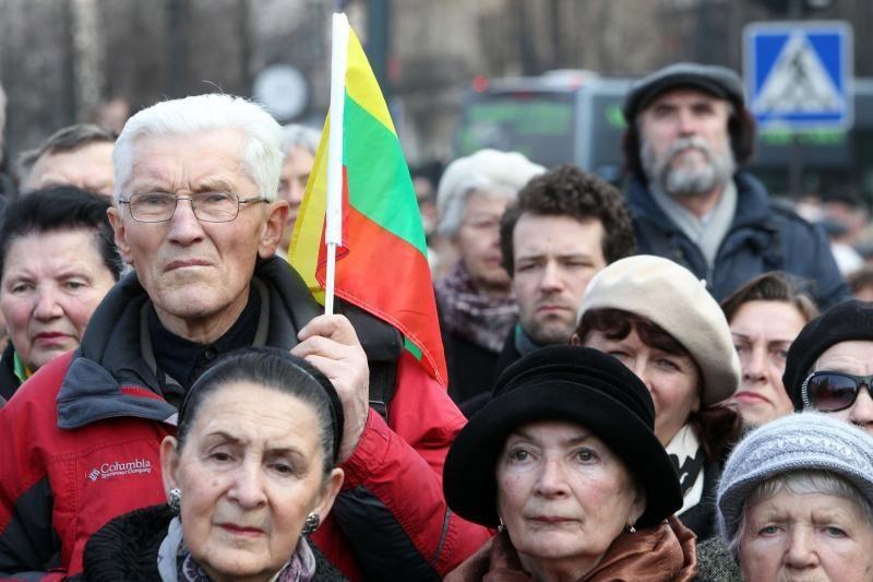 Šimtai žmonių susirinko į mitingą prie Seimo