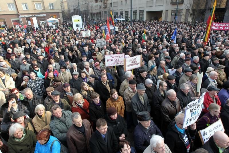 Mitinge prie Seimo – kaltinimai R.Palaičiui ir Prezidentei
