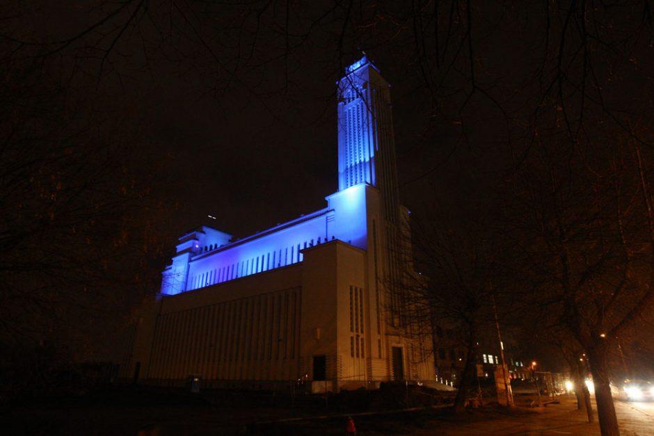 Diabeto diena Kaune: Prisikėlimo bažnyčia nušvito mėlyna spalva