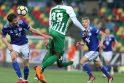 """Neįtikino: Vilniaus """"Žalgirio"""" ekipai sunkiai sekėsi įrodyti pranašumą prieš futbolo mėgėjus iš Farerų salų."""