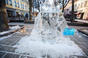 Kaunui padovanota ledo skulptūra – sugriauta (policijos vaizdo įrašas)