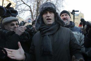 """A. Navalnas suimtas per protestus prieš V. Putiną ir """"pseudorinkimus"""""""