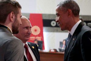 Trumpai susitikę B. Obama ir V. Putinas kalbėjosi apie Siriją ir Ukrainą