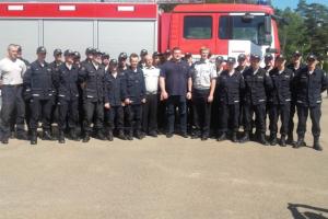 Stipriausias pasaulio žmogus Ž. Savickas patirtimi dalijosi su ugniagesiais