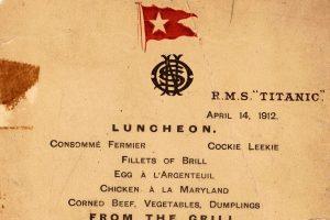"""Aukcione parduodamas nuskendusio laivo """"Titanic"""" valgiaraštis"""