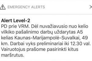 Dėl avarijos uždarytas kelias Kaunas–Marijamolė–Suvalkai