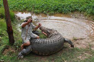 """Australijos """"Basąjį bušmeną"""" rimtai sužalojo krokodilas"""