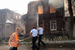 Per didžiulį gaisrą Rusijoje sudegė daugiau kaip 100 namų