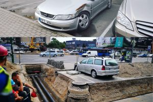 "Statybininkai išėjo, automobilis ""Opel"" liko"