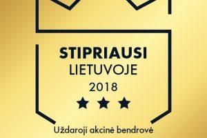 """KRATC suteiktas sertifikatas """"Stipriausi Lietuvoje 2018"""""""