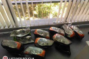 Vilniaus policija pričiupo automobilių žibintų vagį