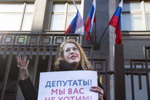Moters dieną K. Sobčiak surengė protestą prie Dūmos