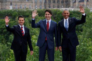 B. Obama atvyko į kasmetinį Kanados, JAV ir Meksikos vadovų susitikimą