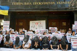 Kijeve aktyvistai protestavo prieš kovą su korupcija žlugdančius prokurorus
