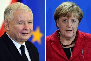 Lenkijos valdančiosios partijos lyderis džiaugėsi susitikimu su A. Merkel