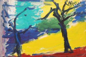 Parodoje – uždara geltona mėlynos priedangos fone
